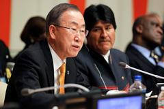Ban Ki-moon y Evo Morales (Foto UN)