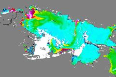 Vista satelital del lago Tititica (Foto BW)