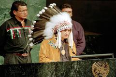 Jefe Ovidio Mercredi en la Asamblea de la ONU (Foto UN)