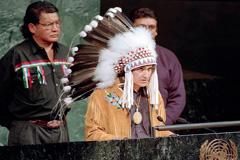 El jefe Ovide en la tribuna de la ONU (Foto UN)