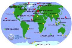 Puntos rojos indican el aumento de CO2 (OMM)