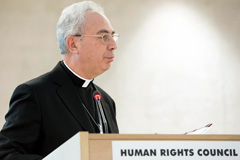 Dominique Mamberti, delegado del Vaticano ante el Consejo de Derechos Humanos (Foto UN/ Ferré)