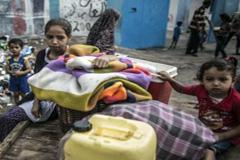 Un escuela sirve de refugio a niños (Foto UN)