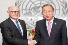 Héctor Timerman y Ban Ki-moon (UN)