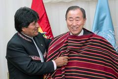 Evo morales recibe a Ban Ki-moon en Bolivia (UN)
