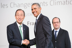 Ban, Obama y Hollande en Ecopo21 (UN)