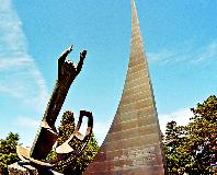 Monumento a la conquista del espacio en el Palacio de las Naciones, Ginebra.