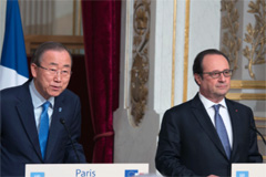 Ban con Hollande en Paris (UN)