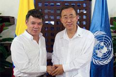 El presidente Santos y Ban Ki-moon