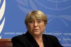 A un año de asumir como Alta Comisionada de la ONU para los Derechos Humanos, Michelle Bachelet se dirigió a la prensa