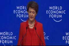 Simonetta Sommaruga presidente de Suiza abrió el Forum Económico de Davos, Trump y Greta Thunberg presentes
